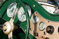 Dashboard detail of 1950's MG TD car. Oak Bay, British Columbia, Canada, 18 March 2006