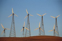 Electric power generator windmills in utility wind farm, Altamont Pass, Alameda County California