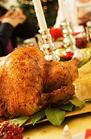 Close-up of a roasted turkey