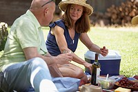 Close-up of a mature couple at a picnic
