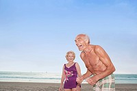 Senior couple laughing at the beach, Las Vegas, Nevada, United States