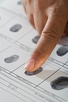 Close up of African male hand and fingerprint card