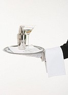 Butler holding a silver tray with a martini and shaker