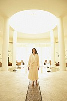 Woman in robe at health spa, Los Cabos, Mexico