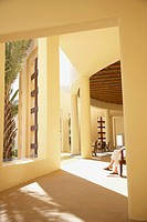 Sunlit lobby of resort hotel, Los Cabos, Mexico