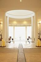 Sunlit resort hotel lobby, Los Cabos, Mexico