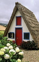 Typical Madeira styled thatched house, Madeira Island. Portugal