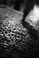 Person standing on cobblestones at night, b&w