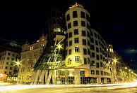 night shot, modern architecture, Dancing House by architects Gehry and Milunic, Prague, Czech Republic, Central Europe