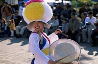 Korea, Seoul, Namsangol Hanok Village, Farmers Dance