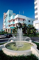 The Art Deco District around Ocean Drive and Washington Ave. Miami Beach. Florida. USA.