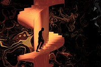 Man climbing an endless nightmarish staircase