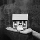 black and white close-up of a miniature house kept of on the palm of a hand