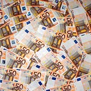 an array of fifty euro bills