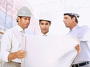 architects looking at blueprints at a construction site