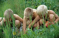 Three children, boys, 5-10 years old, playing in the garden at the water