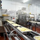 Cartons of potatoes on a conveyor belt