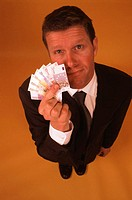 businessman with euro-notes