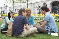 Two young couples sitting in a park and talking