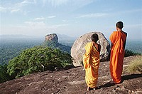 Sri Lanka, Sigiriya Lion Fortress, young monks in foreground