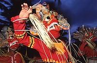Sri Lanka, Bentota Perahera, Masked Devil Dancers