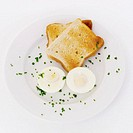 Elevated view of a boiled egg served with toast