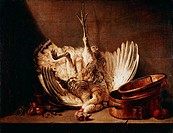 fine arts, Chardin, Jean Simeon, 1699 - 1779, painting, ´still life with hanging turkey´, Budapest, historic, historical, Europe, France, 18th century...