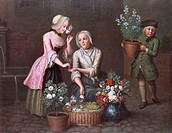 fine arts, Fiedler, Johann Christian, 1697 - 1765, painting, ´Vier Jahreszeiten - Frühling´, ´four seasons - spring´, State Museum of Hesse, Darmstadt...