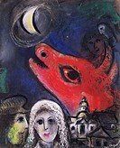 fine arts, Chagall, Marc, 1887 - 1985, painting, ´to the moon´, 1953, Municipal Collection, Bielefeld, historic, historical, Europe, 20th century, vil...