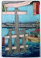 fine arts, Hiroshige Utagawa 1797 - 1858, the great Torji, woodcut, sign, Shinto temple, shintois, religion, pricession, ship, Ukiyo-e, Hiroshige Ando...