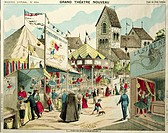 festivity, fairs, carny, ´Grand theatre nouveau - fond de fete foraine´, background for paper theatre, colour pen lithograph, print by Pellerin and Ci...