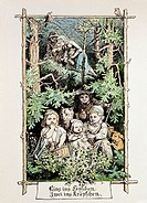 fine arts, Richter, Ludwig 1803 - 1884, family picking berries, coloured engraving, serial ´15 pictures for the House´, Dresden, 1869, private collect...