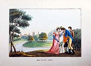 fine arts, register illustration, ´The farewell´, insert, colour engraving, by Franz THomas Weber, circa 1810, Augsburg, 8,5 cm x 12,5 cm, private col...