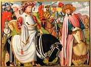 Weihnachten - Nativitas, Hochkunst, Kunst, Religion, Christentum, Jesus Christus, Christi Geburt, Zug der Heiligen drei Könige mit Rappen, Gemälde, na...