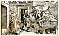 medicine, treatment, phycician leving the house after successful treatment, woodcut, ´De remediis utriusque fortunae´ by Francesco Petrarca 1344/1366,...