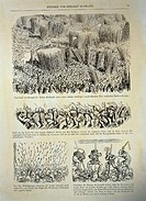 fine arts, Doré, Gustave 1832 - 1883, ´History of the Holy Russia´, 1854, German edition, page 51, struggle against the Asian barbarians, private coll...