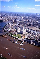 London, aerial photo, aerial view, big dipper, millennium Wheel, Thames, aquarium, town, city, England, Europe, Great