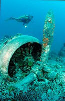 Sunken aeroplane and scuba diver, Papua New Guinea, Pacific Ocean, plane, wreck, wreckdiving, diving, catastrophe, gra
