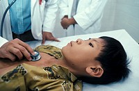 HUMANITARIAN MEDICINE<BR>Photo essay for press only.<BR>The NGO Chain of Hope is an international humanitarian aid program. Auscultation of a sick chi...