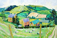 Cotswold Farm Josephine Trotter (b.1940/British) Oil on Canvas