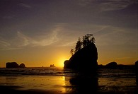 Silhouette of cliffs at sunset, Second Beach, Olympic National Park, Washington, USA