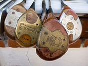 Golf clubs for sale at the antiques fair in San Telmo, Buenos Aires. Argentina