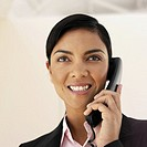 Low angle close-up of a businesswoman using a telephone