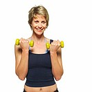 Close-up of woman lifting dumbbells