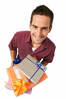 elevated view of a man holding gifts