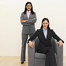 Front view portrait of two businesswomen