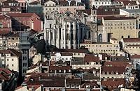 Santa Justa elevator and church do Carmo ruins as seen from Castelo de São Jorge, Lisbon. Portugal