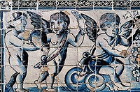 'Azulejos' painted tiles at Palace of the Marquis of Fronteira, Lisbon. Portugal