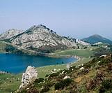 Lake Enol, Covadonga, Picos de Europa National Park, Asturias, Spain