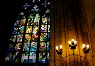 Stained glass windows in Prague's St Vitus Cathedral. Czech Republic. 2006